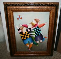 Joyce J Roybal ORIGINAL OIL PAINTING CANVAS SIGNED Children Playing Ball Frame