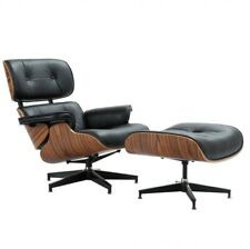 Rosewood Lounge Chair & Ottoman with Black leather