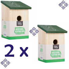 2 x Wooden Nesting Bird Box Nest Wild Birds House Robin Sparrow Traditional New