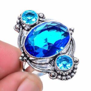Blue Topaz Gemstone 925 Sterling Silver Jewelry Ring s.9 S1954