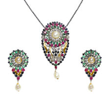 Colorful Gemstone Sterling Silver Earring Pendant Set Victorian Jewelry For Her