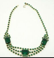 Vintage Green Costume Cocktail Necklace Gold tone Glass crystal ESTATE 14.5""