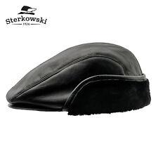 Sterkowski WINDY ED Leather Winter Flat Cap Irish Vintage Driving Gatsby Retro