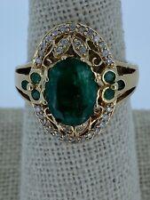 Ladies' Vintage Style Natural Emerald & Diamond 14k Gold Ring