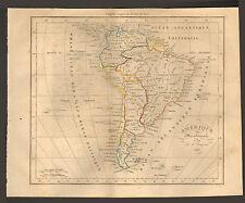CARTE DUFOUR AMERIQUE DU SUD EN 1828 SOUTH AMERICA OLD MAP 1830