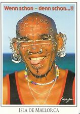 Spain Postcard - Isla De Mallorca - Man's Face Covered In Rings - Ref AB3111