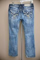 Rock Revival Elaina Easy Boot Cut Jeans Women's size 27 Light Wash Thick Stitch