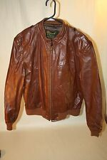 Vintage Retro Reed Sportswear Leather Jacket Coat Brown Mens Motorcycle Sz Small