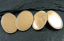 Vintage Heavy Pair of 9ct Gold Oval Cufflinks - UK Hallmarked 1986 - 10.5g