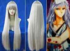 Hot sell!!inuyasha kurama Long Silver White Straight Full Wigs 80cm