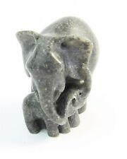 Elephant with Baby Miniature Figurine Quintessence Polished Grey Stone -Made UK