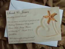 Personalised Wedding Invitations married abroad beach heart in sand starfish