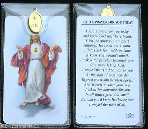 Prayer Verse Card Various Saints Icons With Medal In Plastic Wallet - Catholic