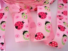 "10 yards Ladybug+Flower Grosgrain 7/8"" Ribbon/Craft/Polyester R16-Pink OR White"
