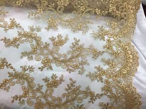 Lace Fabric Black Tulle  Embroidered Gold Floral Fabric Dress Bridal Veil Floral 43.3 Wide 1 Yard