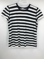 Armani Collezioni Womens Short Sleeve Striped T Shirt Black White Size 12