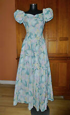 BIANCHI vtg 80s Pastel Abstract Print Cotton BOW Maxi Boho Wedding DRESS GOWN