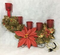 Vintage Christmas Red 5 Lights Corded Candelabra Gold Leaves Poinsettia Holly