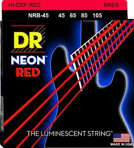DR NRB-45 NEON RED COATED BASS GUITAR STRINGS, MEDIUM 4's - 45-105