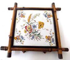 Antique Floral 8 in.Ceramic Tile Pickman Seville Spain Bamboo Frame Trivet