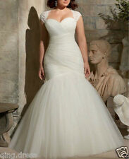 Plus Size White Ivory Lace Mermaid Wedding Dresses With Short Sleeve Bridal Gown