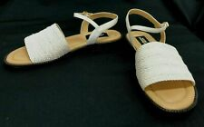 Womens Hush Puppies Ivory Faux Leather & Woven Upper Sandals  Sz 8.5 B GUC