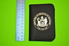 Perfect Fit Shield Wallet Cutout 375 Style 100-I, DE state seal on front, Badge