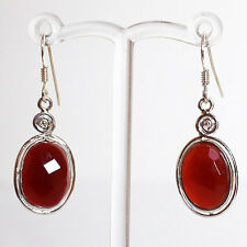 925 Sterling Silver Semi-Precious Natural Stone Earring - Faceted Red Onyx