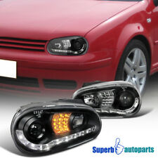 For 99-06 VW Golf MK4 GTI R8 Style LED Signal Lamps Projector Headlights Black
