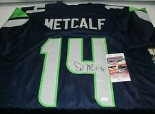 DK D.K. Metcalf Autographed Signed Seattle Seahawks Blue Custom Jersey JSA 1