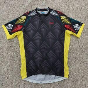 Arsuxeo Men's Size XXL Cycling Jersey Full Zip Short Sleeve 2XL Shirt Black