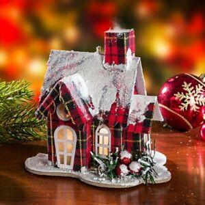 """Haus """"Winter"""" rot kariert mit Beleuchtung, Lichter Leucht Winter Weihnachts Deko"""