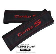 Cubiertas de cinturón de seguridad de Cuero Negro Rojo Bordado Turbo S Para Porsche