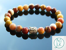Buddha Mookaite Natural Gemstone Bracelet 7-8'' Elasticated Healing Stone Chakra