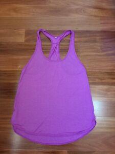 Lululemon Essential Tank Top Size 8 Subtle Stripes Magenta Purple