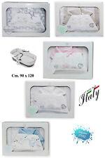 Completo lenzuola neonato CULLA/CARROZZINA 90 x 120 FLANELLA ricamata T&R_BABY