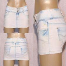 Sexy Damen Mini stretch Jeans Denim Bleached Stonewashed Rock ICE BLUE Blau