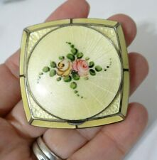 New listing Vintage Antique Art Deco R.B. Co Yellow Guilloche Flower Enameled Vanity Compact