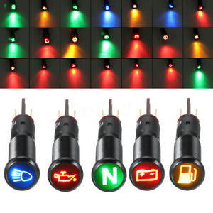 12V 24V 8/10/12/14/16mm LED Dash Panel Warning Light Indicator Car Boat Symbol