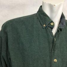 Vtg WOOLRICH Tarpon Heather Chamois Flannel Shirt Large Dark Green OutDoor Work