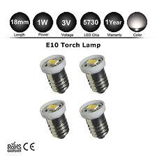 4x E10 LED Screw Base Bulb warm white 3V D/C cell Torch Lamp Light 5000k 5730SMD