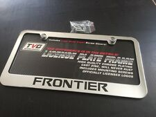 NISSAN FRONTIER CHROME LICENSE PLATE FRAME BLACK ENGRAVED LETTERS CAP COVERS