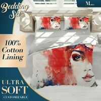 Woman Face Watercolor Graffiti Red Quilt Cover King Bed Single Double Queen Size