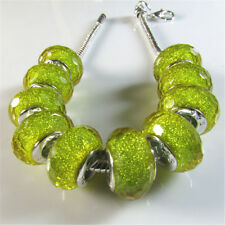 30 X Yellow Silver Core Faceted Lampwork Resin Beads Fit European Charm Bracelet