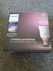 Philips Hue B22 White & Colour Starter Kit.Bridge & 3 bulbs-New & sealed