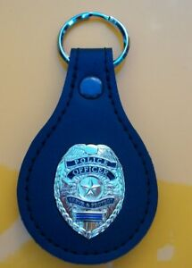 """Police Officer """"Serve & Protect"""" Thin Blue Line Mini Badge Leather Key Fob"""