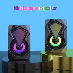 PC Lautsprecher LED USB Computer RGB Speaker Stereo Gaming Bass Multimedia Box.