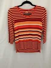 AMBER SUN Size XS Orange Stripe Modal/ Spandex V Neck Casual Top