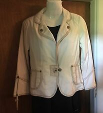 """NEW """"MY TRIBE"""" Ivory Jacket- Leather Trimmed - High  End Styling - Size Small"""