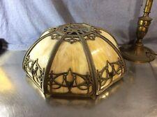 Bradley & Hubbard MFG CO. Antique Slag Glass Vintage Lamp Shade! Large 8 Pane